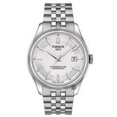TISSOT 天梭 Ballade COSC 80小時矽游絲機械手錶-銀/41mm T1084081103700