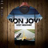 新品邦喬維搖滾樂隊T恤大碼短袖 青少年上衣 個性新潮全印花