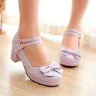 粗跟鞋 【32~43碼】 高跟皮鞋公主單鞋少女粗跟高跟舞蹈鞋 - 古梵希