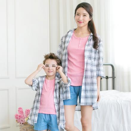 韓版中袖背後字母格子襯衫母子親子裝(女大人)
