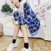 針織外套毛衣女外套秋冬格子針織開衫寬鬆潮2018新款韓版學生百搭  嬌糖小屋