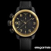 ELEGANTSIS 軍事風格黑金三眼左冠厚皮帶軍錶 43mm小 ELJT48S-OG07LC 公司貨 | 名人鐘錶高雄門市