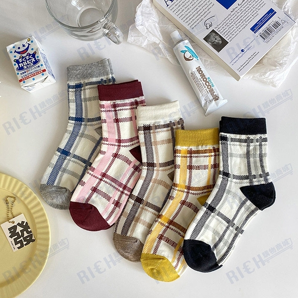 復古格子款中筒襪秋冬季韓國日系四季英倫學院風襪子女