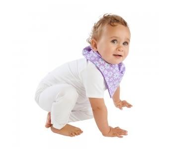 紐西蘭 Mum 2 Mum 雙面時尚造型口水巾圍兜-雛菊/紫 吃飯衣 口水衣 防水衣