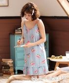 夏季吊帶睡裙子睡衣女夏天無袖背心韓版可愛純棉薄款家居服 『歐尼曼家具館』