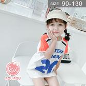 韓版女童短袖T恤。ROUROU童裝。夏女童中小童長版拼色運動風短袖T恤 0221-439