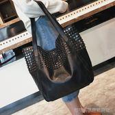 托特包 大包包冬女包歐美時尚鉚釘單肩包休閒簡約手提購物袋