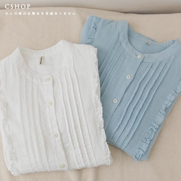 氣質系荷葉點綴壓摺雙層棉紗上衣 二色-小C館日系