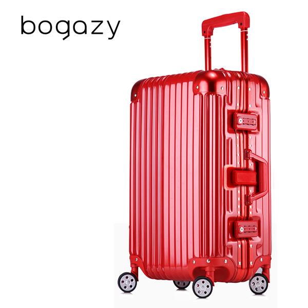 Bogazy 迷幻森林26吋鋁框PC鏡面行李箱(紅色)