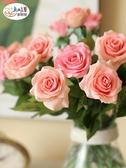 假花 太像真花!10枝套裝卡洛琳手感保濕玫瑰仿真花束客廳擺件設假花藝 新年提前熱賣