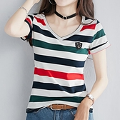 T恤 條紋t恤女短袖純棉夏季2021新款韓版修身顯瘦百搭ins上衣服女裝潮