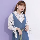Poly Lulu 滿版點點袖口蝴蝶結綁帶襯衫-白【91040085】