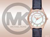 【時間道】MICHAEL KORS 奢華典雅羅馬刻度珠框腕錶 / 白貝面晶鑽玫瑰金框深藍皮 (MK2757)免運費