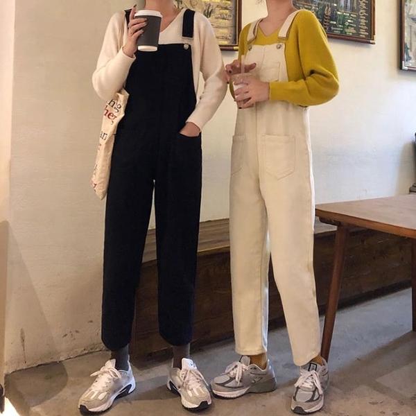 2021春季新款韓版牛仔褲女直筒寬鬆高腰顯瘦連體吊帶褲黑色長褲子 【夏日新品】