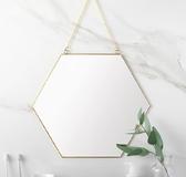 態生活 北歐極簡幾何造型金色黃銅六邊形鏡子衛浴鏡玄關鏡化妝鏡