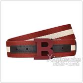 BALLY BUCKLE霧面紅字大B LOGO條紋設計棉/牛皮雙面扣式皮帶(紅白x深咖啡)