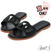 Ann'S不凡氣質-名媛風鏤空方頭平底涼拖鞋-黑