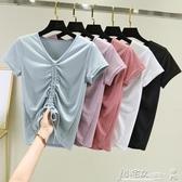V領T恤 抽繩上衣女短袖2020夏季新款莫代爾V領T恤大碼顯瘦胖mm韓版打底衫 小宅女