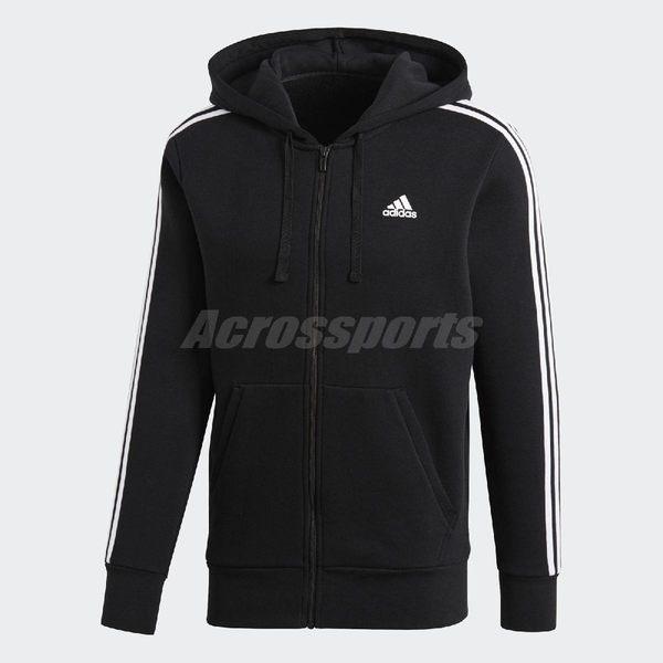 adidas 連帽外套 Essentials 3-Stripes Fleece Hoodie 黑 白 男款 三條線 基本款 長袖【PUMP306】 B47368
