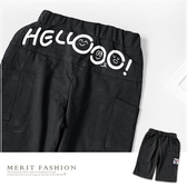 純棉 HELLO側邊口袋棉質短褲 深灰 舒適 彈性 休閒 短褲 棉質 男童 夏天 童裝 哎北比童裝