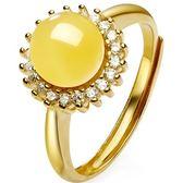 戒指 925純銀 琥珀-細緻迷人生日情人節禮物女開口戒73ga4[時尚巴黎]
