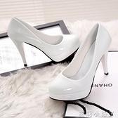 10CM高跟鞋防水臺性感細跟女單鞋圓頭淺口套腳韓版女鞋漆皮鞋子夏 蘿莉新品