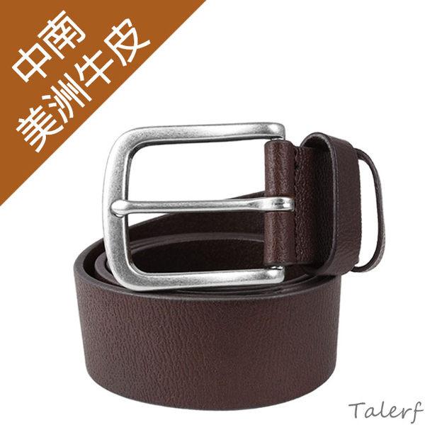 TALERF甩花紋單層皮帶(咖啡色)-男 /真皮 牛皮/台灣製造