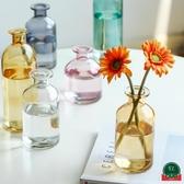北歐玻璃透明水養桌面裝飾花瓶擺件客廳插花干花【福喜行】