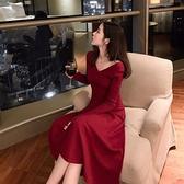 女神衣紅色連身裙子仙女超仙森系氣質女神范衣服秋冬2021年新款女裝早春LX
