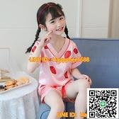 女童睡衣女冰絲夏季薄款短袖女童夏裝可愛小女孩中大童空調家居服【happybee】