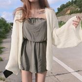 慵懶風針織配吊帶裙的小外披防曬開衫女夏季超薄空調披肩外搭短款 圖拉斯