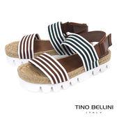 Tino Bellini西班牙進口文青條紋麻編厚底涼鞋_ 綠+咖 A73033 歐洲進口款