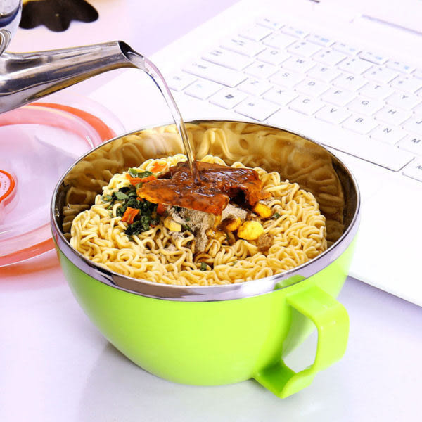 Qmishop 雙層帶蓋手柄泡麵杯 拉麵碗 隔熱保鮮盒 環保餐具【J271】
