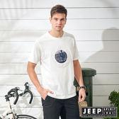 【JEEP】自由冒險立體圖騰短袖TEE-白