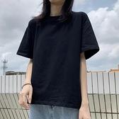 中大碼上衣 純棉夏裝短袖t恤女黑色寬鬆顯瘦半袖大碼韓版2021新款上衣服ins潮 晶彩