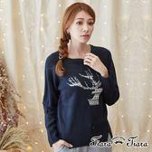 【Tiara Tiara】激安 民俗風紋鹿針織長袖上衣(黑)