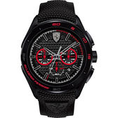 Scuderia Ferrari 法拉利 急速三眼計時手錶-黑x紅圈/45mm FA0830344