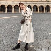 風衣女中長款2021春秋新款韓版英倫風過膝大衣修身顯瘦休閑外套 快速出貨
