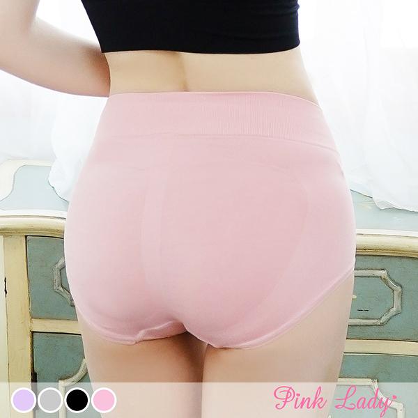 蠶絲褲底無縫內褲 完美包覆 3D提臀中高腰內褲666-Pink Lady