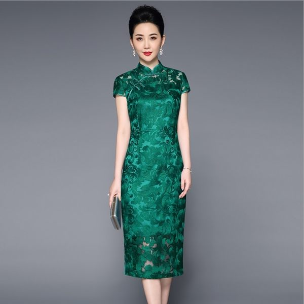中大尺碼洋裝 中國風網紗繡花短袖旗袍領長款連衣裙 L-4XL #ybk8253 ❤卡樂❤
