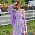 吊帶連身裙 裙子女2021夏季新款韓版復古小眾蕾絲收腰顯瘦氣質吊帶裙連身裙寶貝計畫 上新