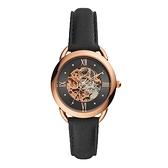 【Fossil】Tailor黑面鏤空機械時尚真皮腕錶-質感黑/ME3164/台灣總代理公司貨享兩年保固