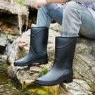 中筒雨鞋男士時尚防滑水靴輕便工作靴春夏雨靴戶外釣魚水鞋膠鞋男 設計師生活百貨