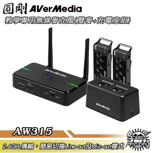 圓剛 AVerMic AW315 教學專用無線麥克風(雙麥克風+充電底座組)【Sound Amazing】