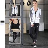 瑜珈服運動套裝(三件套)-時尚連帽套指袖口女健身衣2色73mt2[時尚巴黎]