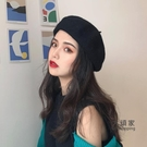 畫家帽 造型帽 黑色貝雷帽女秋冬韓版潮ins英倫復古畫家報童八角帽蓓蕾帽子百搭