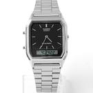 CASIO卡西歐方型黑面雙顯鋼錶【NEC46】