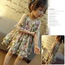 韓國童裝裙子夏裝新款女童洋氣甜美碎花露肩吊帶荷葉邊連身裙
