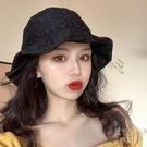 蕾絲漁夫帽女百搭遮臉夏季薄款花朵鏤空太陽帽防曬遮陽帽子 快速出貨