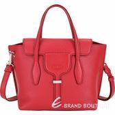 TOD'S Joy Bag T釦牛皮手提肩背包(亮紅色) 1920046-E4